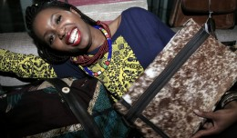 Christine Mhando of Chichia London with Adele Dejak Jaber hide bag